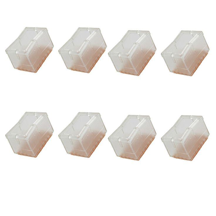 Nuevo 8 unids de Silicona Rectángulo Cuadrado Transparente Caps Silla Piernas Pies Almohadillas de Muebles Mesa Cubre Protectores de Piso De Madera