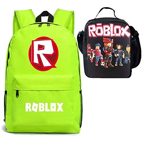 51bec262bc35 Boy Girl Kid Roblox Backpack Insulated Lunch Box School Travel Green ...