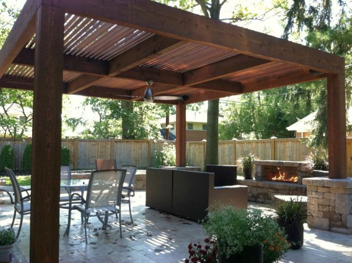 Superior Simple Modern Pergola Kit With Outdoor Fireplace