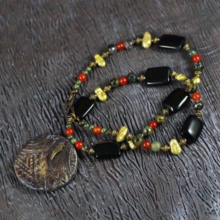 Купить Колье с подвеской Крыло Энлиля, медальон, черный, оливковый, этно бохо