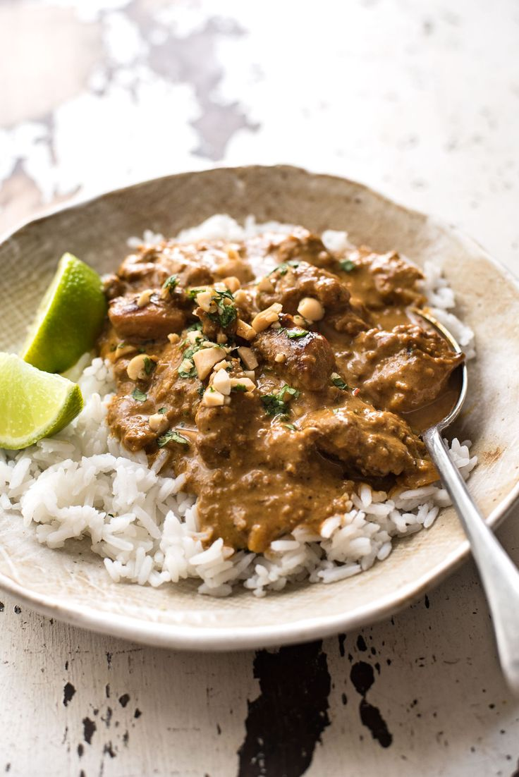 Your satay dreams come true: chicken marinated in an easy homemade satay seasoning simmered in a from-scratch peanut sauce. No hunting down unusual ingredients!
