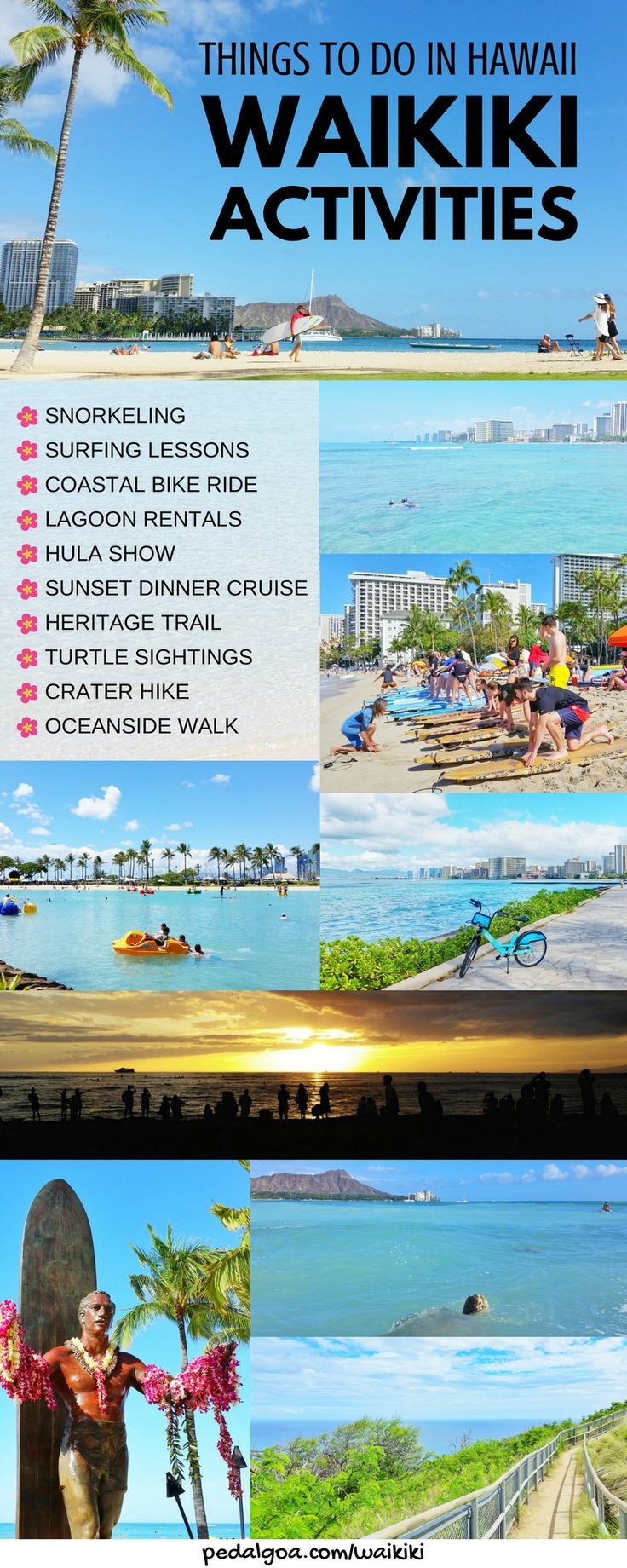 Best Waikiki activities, list. Best things to do in Hawaii. Planning Hawaii itinerary - Waikiki in one week: Oahu Hawaii vacation tips, ideas. Hikes, snorkeling beach, surf, biking. Cheap, free activities on a budget. Tours. With kids, families. Later shopping, food, eating, restaurants! USA bucket list destinations, honeymoon. Also what to wear in Hawaii, what to pack for Hawaii packing list. Walk Hilton Hawaiian Village to Sheraton. Waikiki Travel Guide. #hawaii #oahu #waikiki