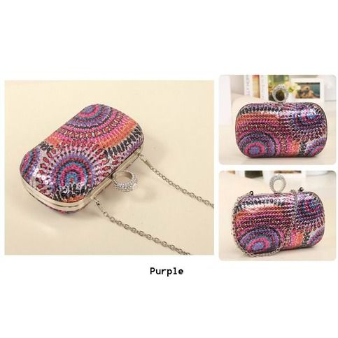 High quality and fashion design,the pattern is beautiful,diamond sequined make it shining,the evening clutch make you be a spotlight.  Details: Quality : High Quality Color : Blue,Purple,Apricot Weight : About 600g Length : 15cm(5.90'') Height : 10cm(3.93'') Width : 5cm(1.96'') Gender : ...