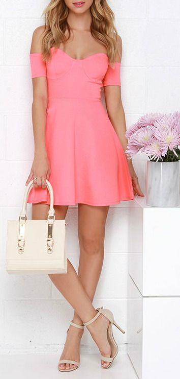 Tea Cup Coral Pink Off-the-Shoulder Dress