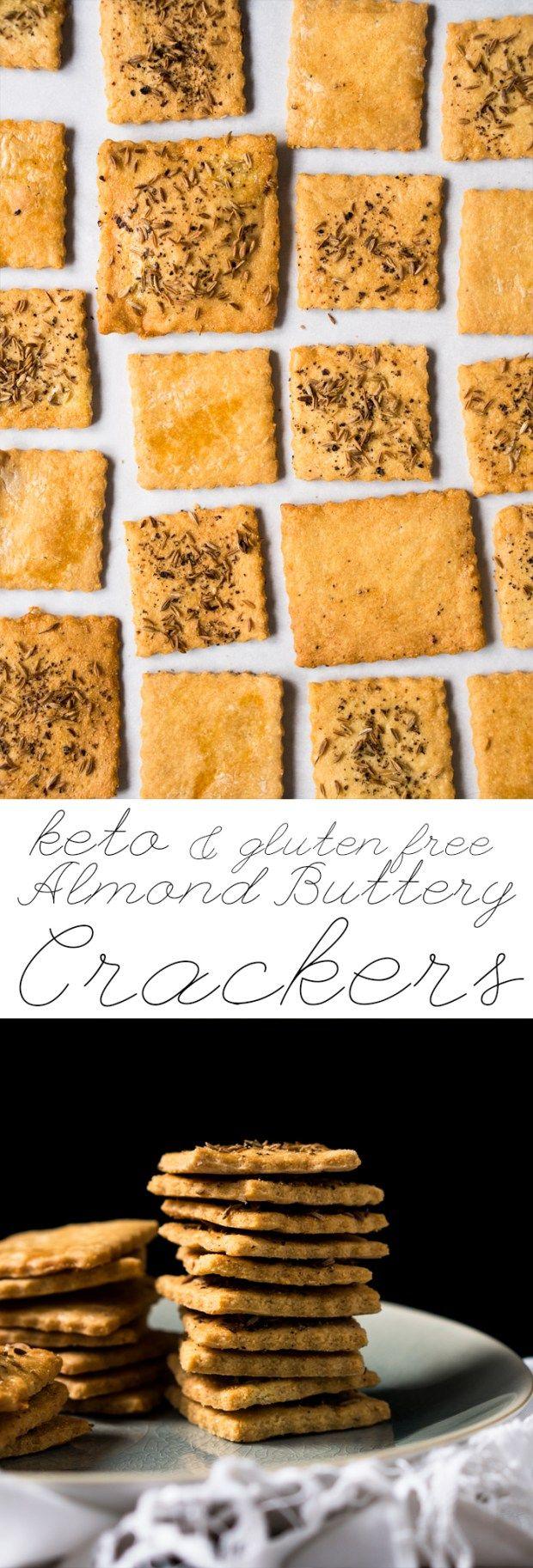 Grain Free, Gluten Free & Keto Almond Crackers  #keto #ketosnacks #ketocrackers