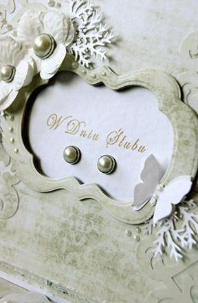 """stempel """"W Dniu Ślubu"""", tusz jasnobrązowy, papierowe kwiatki i ćwieki LM oraz papier kolekcji Idylla"""