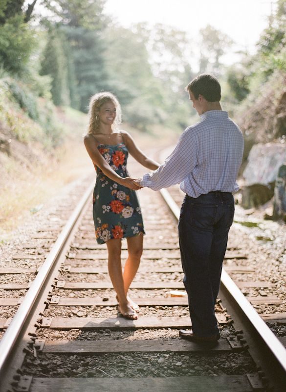 Cute railroad engagement picture | Jennifer + Hall's Train Track Engagement Session in Charlottesville