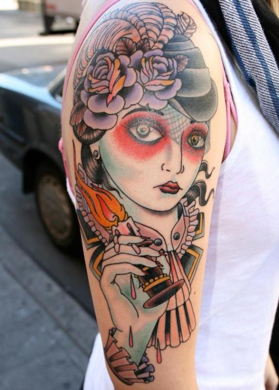 lady, hat, candle Brad Stevens Inspirational tattoos