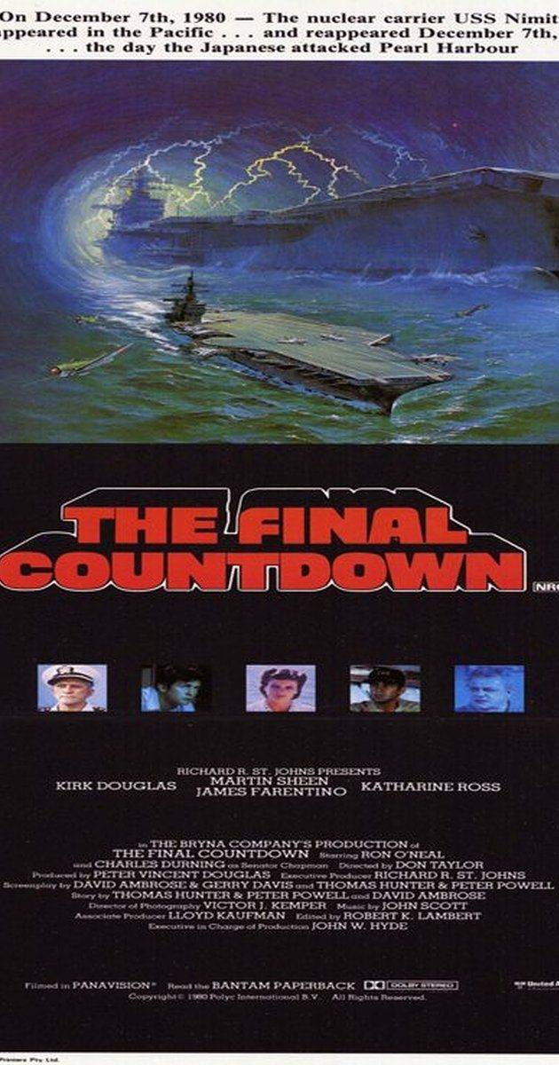 Directed by Don Taylor.  With Kirk Douglas, Martin Sheen, Katharine Ross, James Farentino. A modern aircraft carrier is thrown back in time to 1941 near Hawaii, just hours before the Japanese attack on Pearl Harbor.