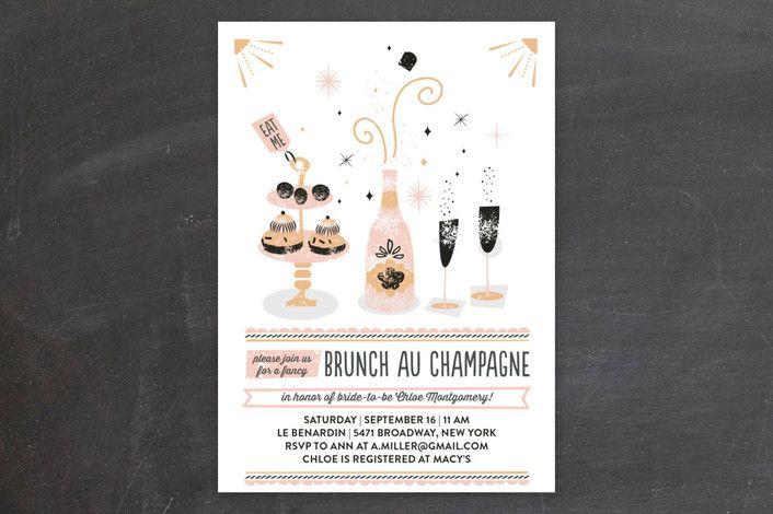 Brunch Au Champagne Bridal Shower Invitations by Bonjour Paper at minted.com