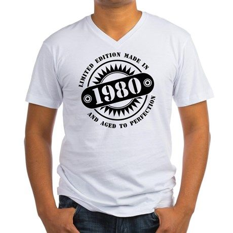 LIMITED EDITION MADE IN 1980 Mens V-Neck T-Shirt #madein #limitededition #birthday #bday #year #age