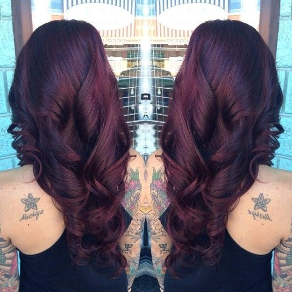 Level 2 dark brown / color correction and toned to a level 6 violet red. by dixie