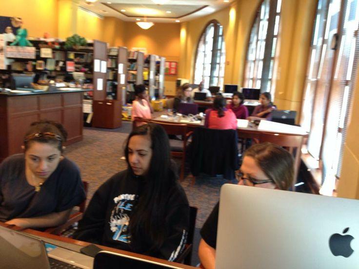Girls working hard on Day 3 of the International Women's Hackathon at Montclair State University!