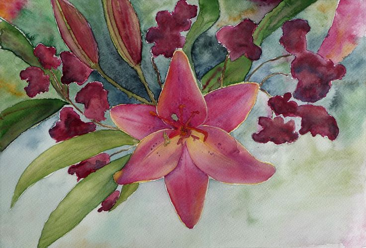 A day lilly in watercolour