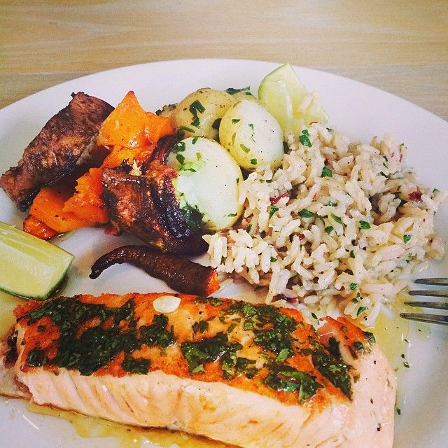 what a lovely lunch. seared norwegian salmon, roasted vegetables, baby potatoes & herb rice.