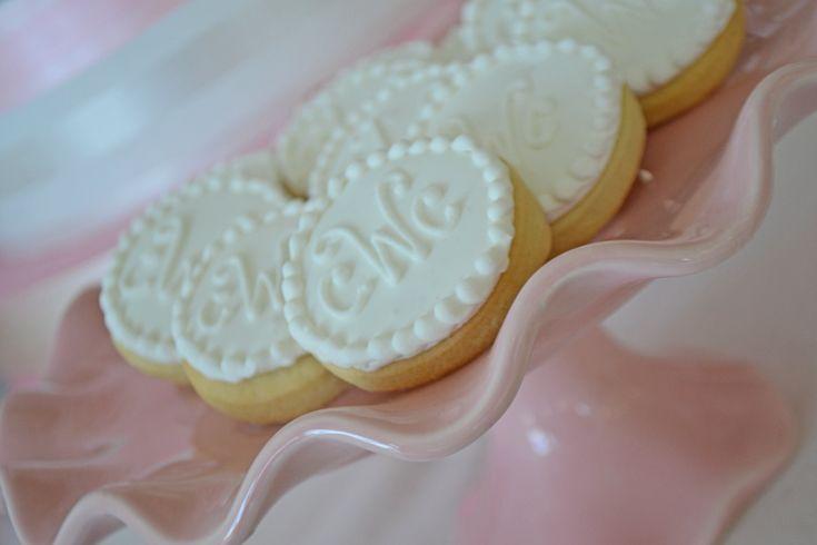 Monogram sugar cookies for an elegant wedding treat. Cookies by Bake Sale Toronto.