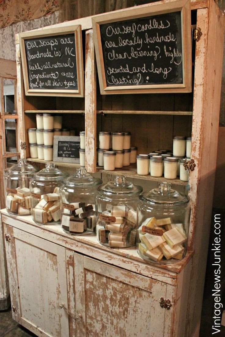Chippy Chalkboard Display case with Handmade Soaps