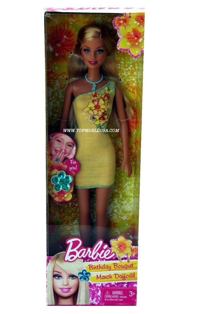 Barbie March Daffodil Birthday Bouquet Doll #Mattel