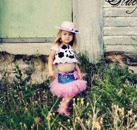 Pink Cowgirl Denim tutu costume