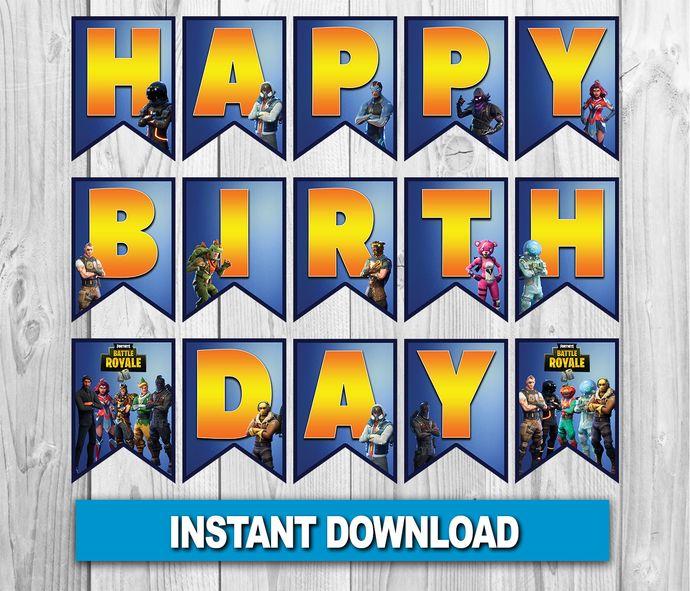 Fortnite Birthday Banner Fortnite Digital By Zanaprintable On