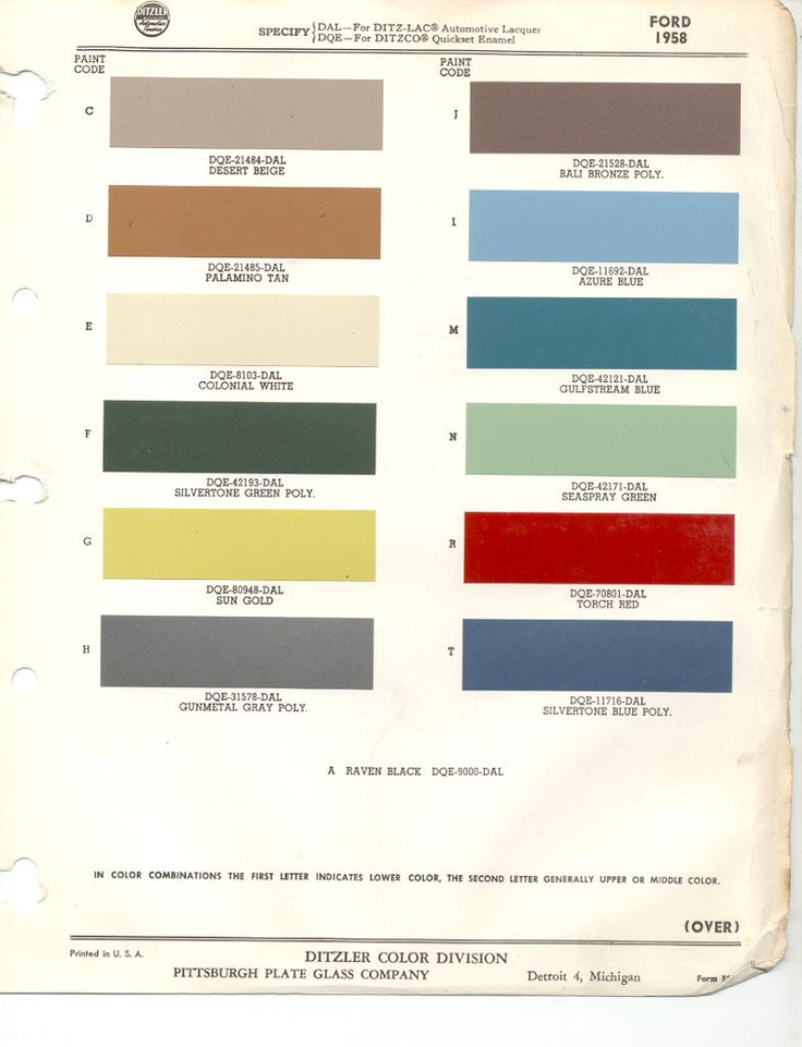 Paint Chips 1958 Ford Thunderbird Color Palettes