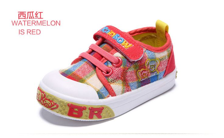 (Buy Two Get Third One Free)New Baby Watermelon Red Grid Canvas Shoes Size:21-26 #RainbowBear #WalkingShoes