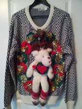 UGLY TACKY CHRISTMAS SWEATER PARTY MISTLETOE LIGHT UP BELLS REINDEER WREATH CUTE