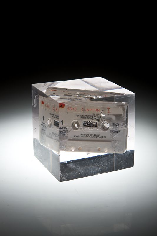 Artist: Zoltán Béla - Time Capsule (2009), 10 x 9 x 10 cm, self made tape in resin