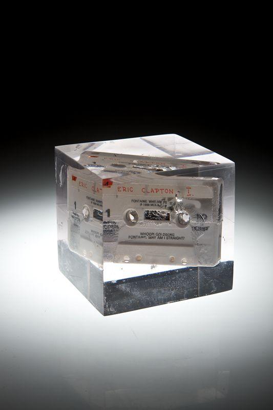 Artist: Zoltán Béla - Time Capsule (2009), 10 x 9 x 10 cm, self made tape in resin