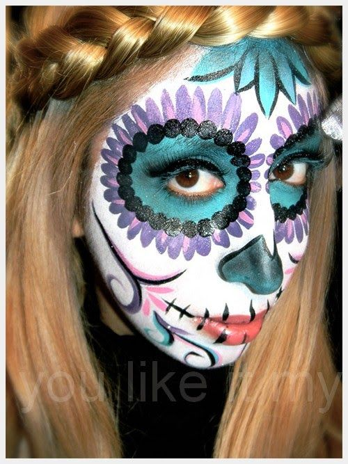 You Like It My...: Sugar Skull Makeup For Day Of The Dead  Today, my friend Gorgeous artists of sugar skull makeup, a guest who sends and showing us her design and makeup techniques Day of the Dead, or dialogue de los Muertos sugar skull makeup also known as. #SugarSkull   #Makeup  #DayOfTheDead #Halloween