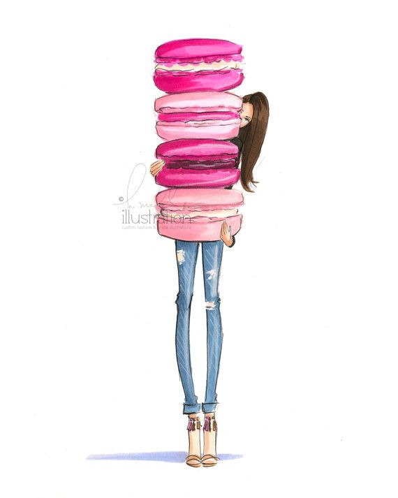 Macaron Overload Print by HNIllustration on Etsy