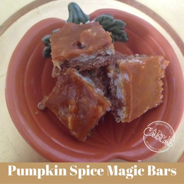 Pumpkin Spice Magic Bars on Pumpkin Plate