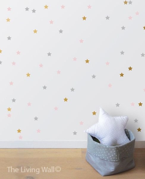 "Star decal set, gold confetti stars, baby nursery wall decor.  Measurements: 100 Stars 3,5cm x 3,5cm / 1.4 x 1.4  Color Options: *Important* Please specify your choice of or your own refering to our color chart, in the ""message to seller"" box, if not specified you will be sent the colors used in the first photo: Gold metallic, mist grey, soft pink.  Installation: The installation of my wall stickers is a simple procedure that requires some attention to detail on your part to obtain the best…"
