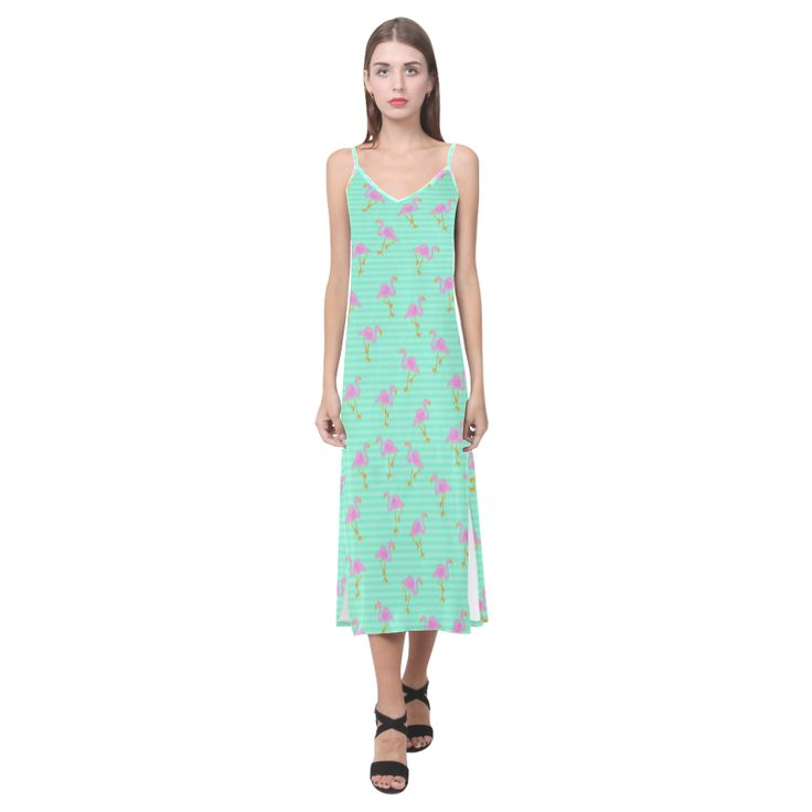 Pink and Green Flamingo Pattern V-Neck Open Fork Long Dress(Model D18)