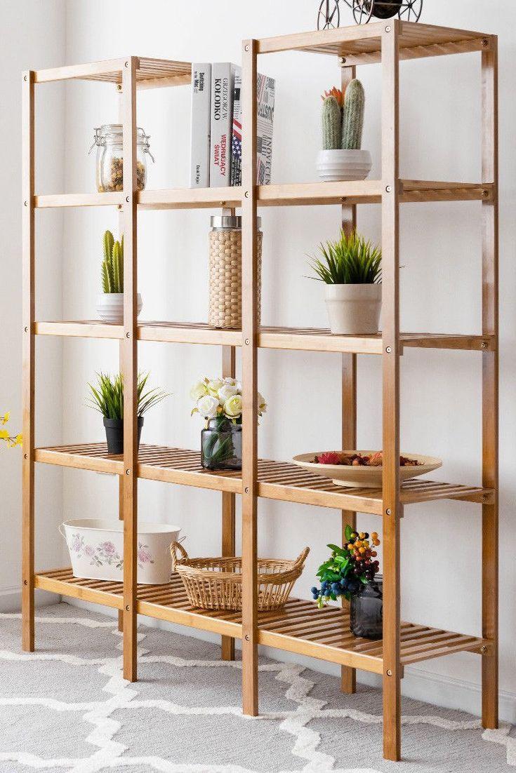 Wooden Storage Shelf Rack Plant Display Stand 5 Tier Shelves Organizer Bookcase Wooden Storage Shelves Shelves Bookcase Organization
