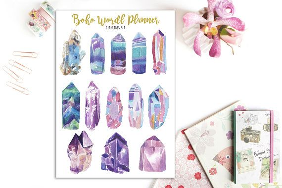 Sheet of 13 gemstones stickers, perfect for organize your planner, midori, travelers notebook, filofax, bullet journal... Decorate your planner, travellers notebook or bullet journal with this crystal stickers sheet from my watercolor designs printed on matte paper. Size of the