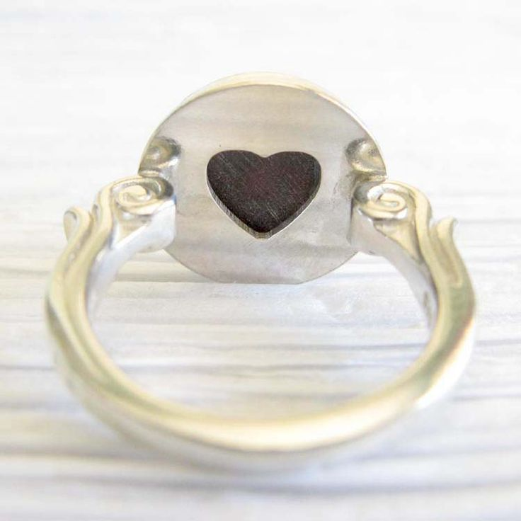 Affection ~ Glass cremation jewelry sterling silver ring with heart
