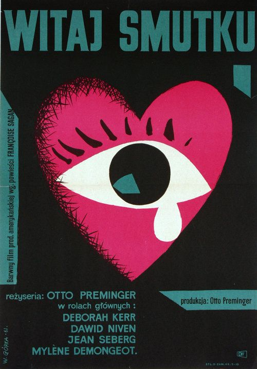 polish movie poster by wiktor gorka, 1961, for otto preminger's 'bonjour tristesse'