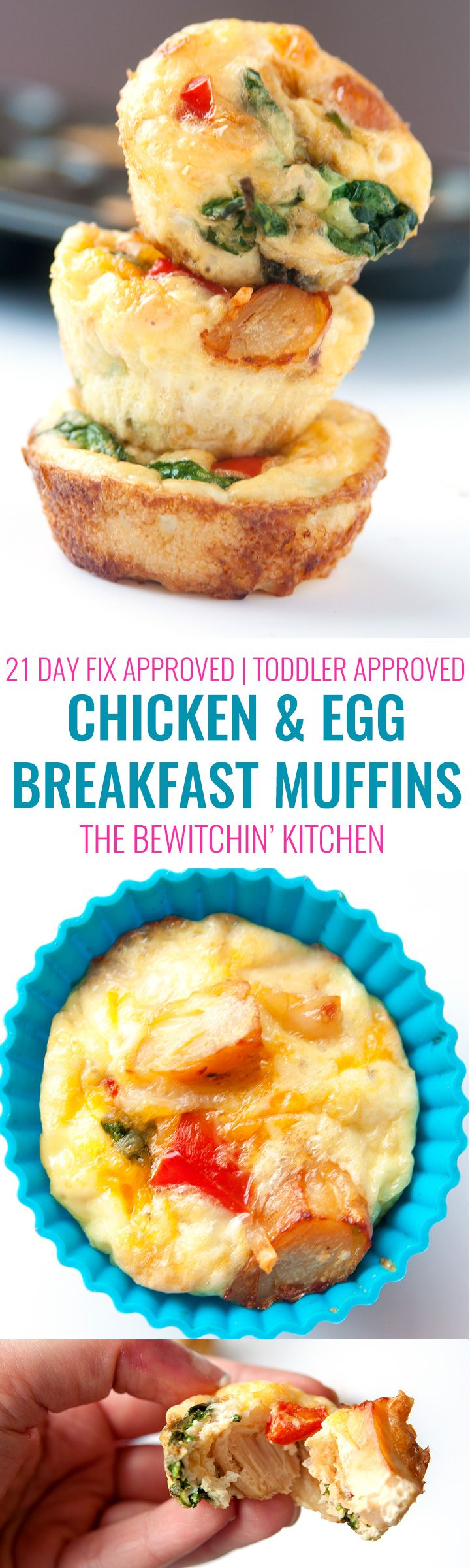 Chicken Breakfast Muffins. These chicken and egg muffins don't have to be just for breakfast. This 21 Day Fix approved recipe is also a delicious healthy snack, nutritious lunch and even works for a clean dinner. This recipe is also approved for 22 Minute Hard Corps, Hammer and Chisel, Cize, etc   thebewitchinkitchen.com #chickendotca