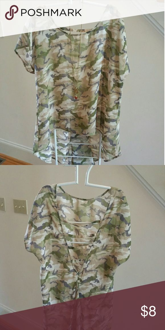 "Sheer Camouflage Top by ""Just One"" Camouflage colors. High front, low ""V"" back neckline with 4 cross strips. Flare pleat in back below V. Worn once in Fashion show. Tops Blouses"