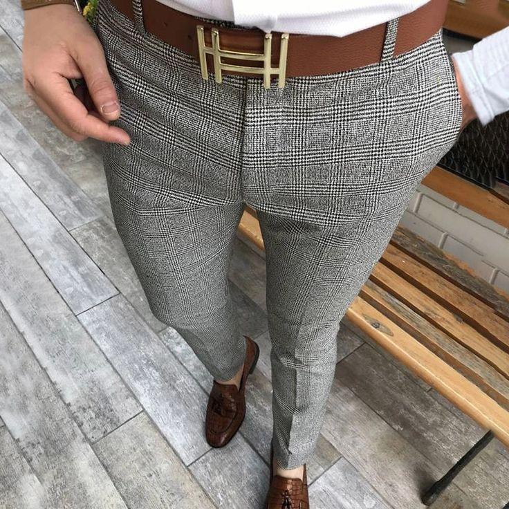 Fashion Men'S High Waisted Plaid Pants