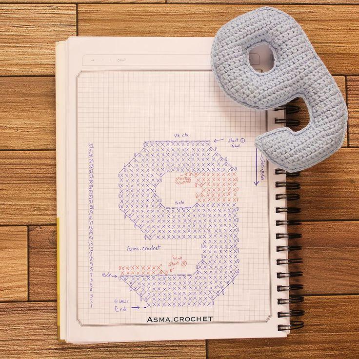 . وأخيراً انتهينا من الأرقام . . #crochet_numbers #crochet #كروشية
