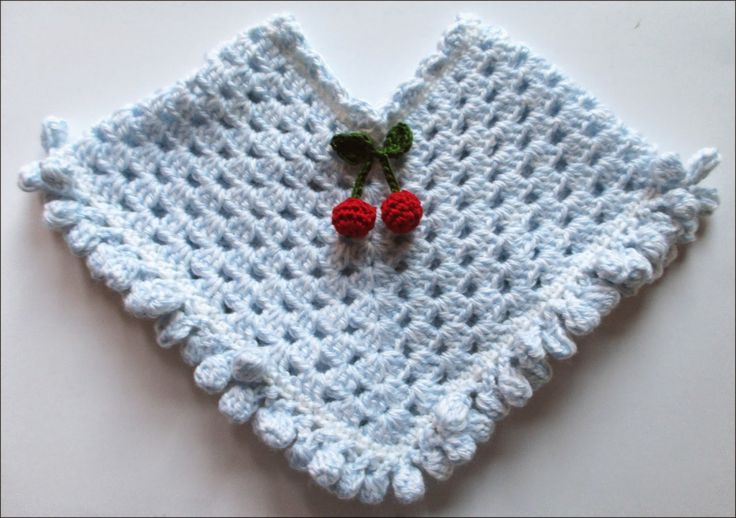 CUTE STUFF INSIDE - Crocheted poncho sized for American Girl with crocheted cherries.