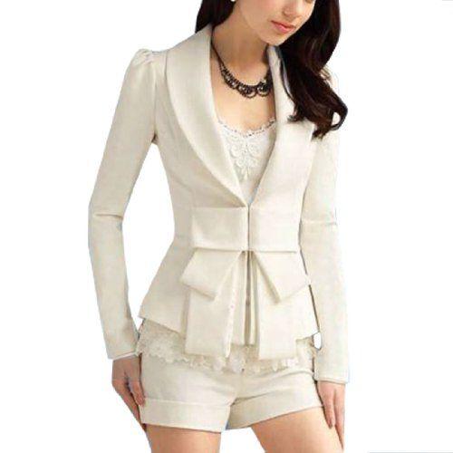 Allegra K Lady Shawl Collar Long Sleeve Hook Closure Blazer Jacket White: Light Pink Blazers, Closure Blazers, Collars Long, Blazers Jackets, Lady Shawl, Long Sleeve, Shawl Collars, Hooks Closure, Sleeve Hooks