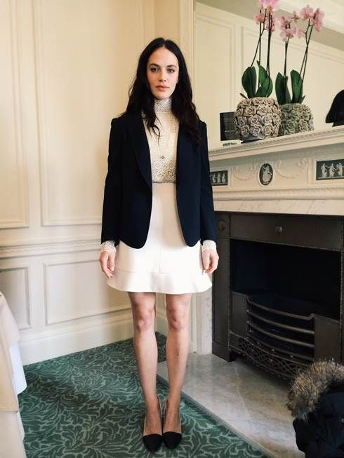 """Jessica Brown Findlay  wearing a Chloé full look from pre Fall 14 at the premiere for her new movie """"Winters tales"""" in London on February 14th"""
