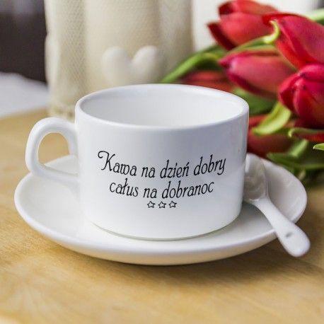 Kawa na dzień dobry, całus na dobranoc ☕ i każdemu tak życzę .  Filiżanka do kupienia na www.reklamowe.co  #caffe #kawa #cup #breakfast #sniadanie #calus