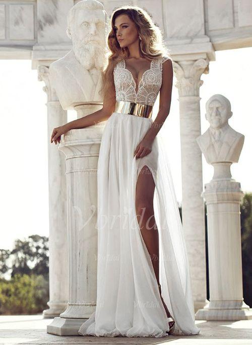 Abendkleider - $258.06 - A-Linie/Princess-Linie V-Ausschnitt Bodenlang Chiffon Abendkleid mit Rüschen Spitze Schlitz Vorn (0175090218)
