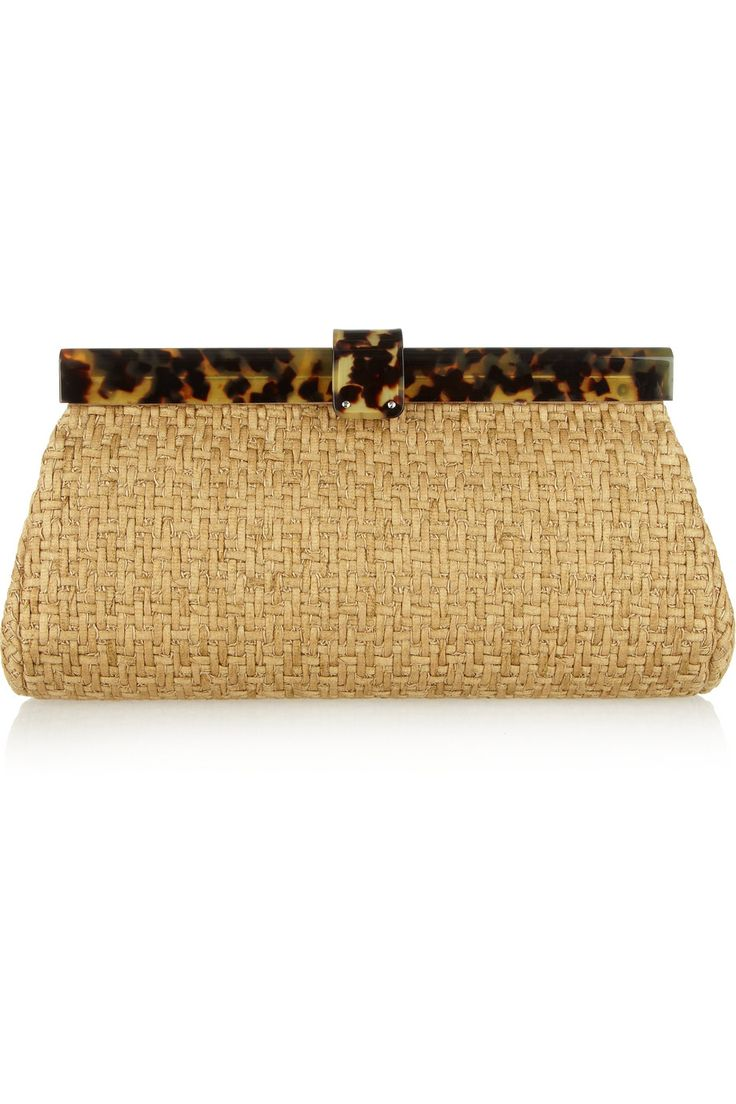 Ralph Lauren Collection | Woven-twill and tortoiseshell acetate clutch |  NET-A-