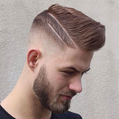 High Fade Comb Over with Beard