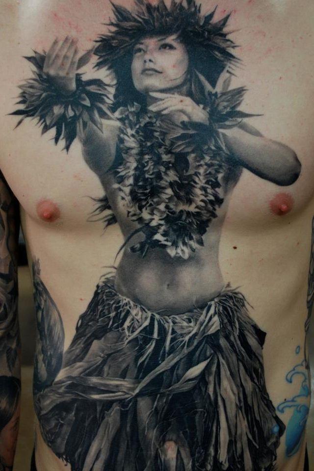 Hawaiian hula girl tattoo